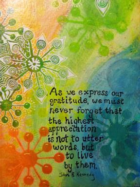 """""""Gratitude"""" by Art Journaling teacher Tess Imobersteg"""