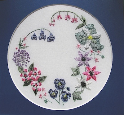 Spring Wreath embroidery class April4/May9 10 am to 2:30 pm taught by Judy Caruso